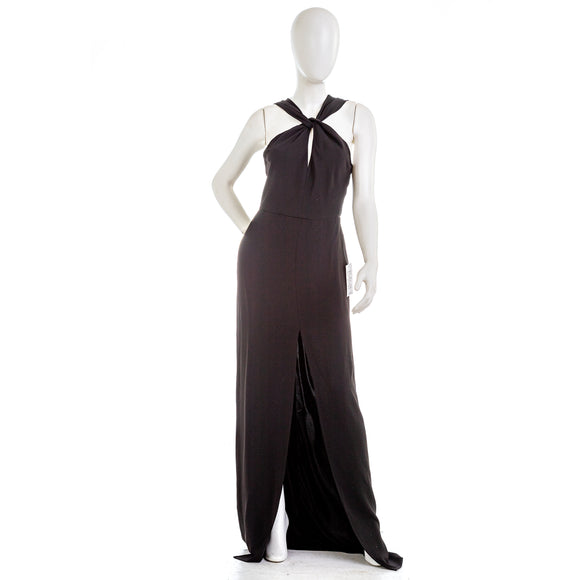JAY GODFREY Twist Keyhole Gown with High Slit