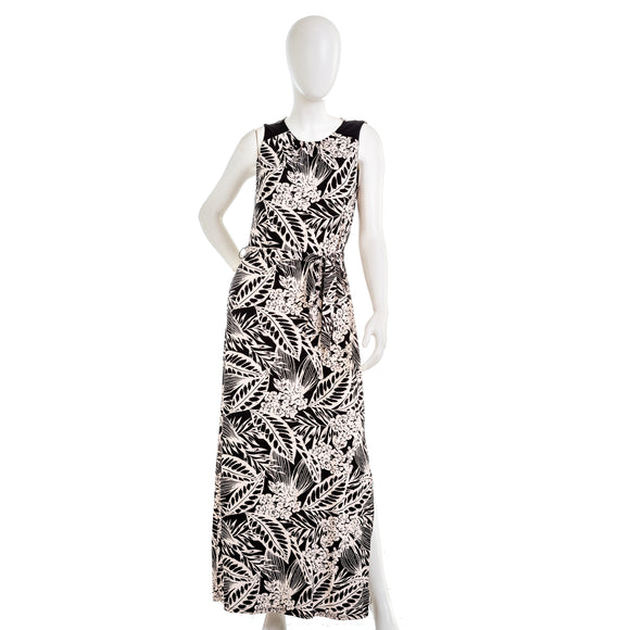 LORI MICHAELS Sleeveless Tropical Print Belted Dress