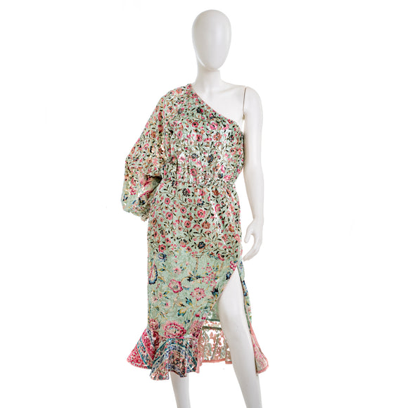 HERMANT & NANDITA One Shoulder Floral Print Dress