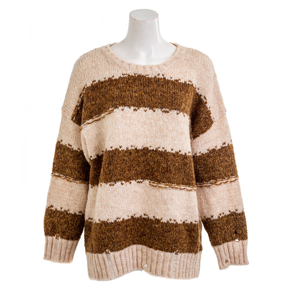 SISTERS Striped Sweater Brown Combo Lux300 NWT