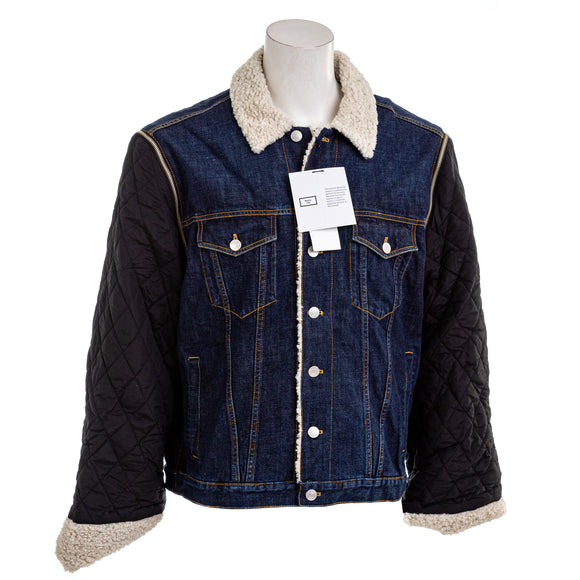 MARTINE ROSE - Men's Denim Jacket With Jacquard Sleeves