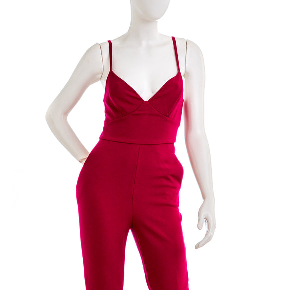 BCBGMAXAZRIA Tailored Jumpsuit in Vivid Fuchsia