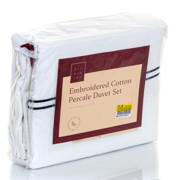 ELLA JAYNE Penthouse Collection Embroidered Cotton Percale Duvet Set