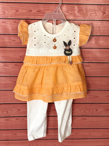 Baby Girls Orange Lite Frock with Pj's