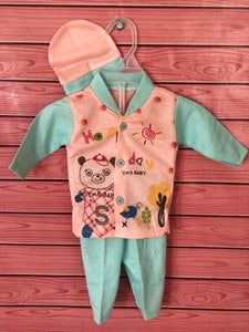 Unisex Baby Pink & Sea Green Baby Bear Suit with Cap
