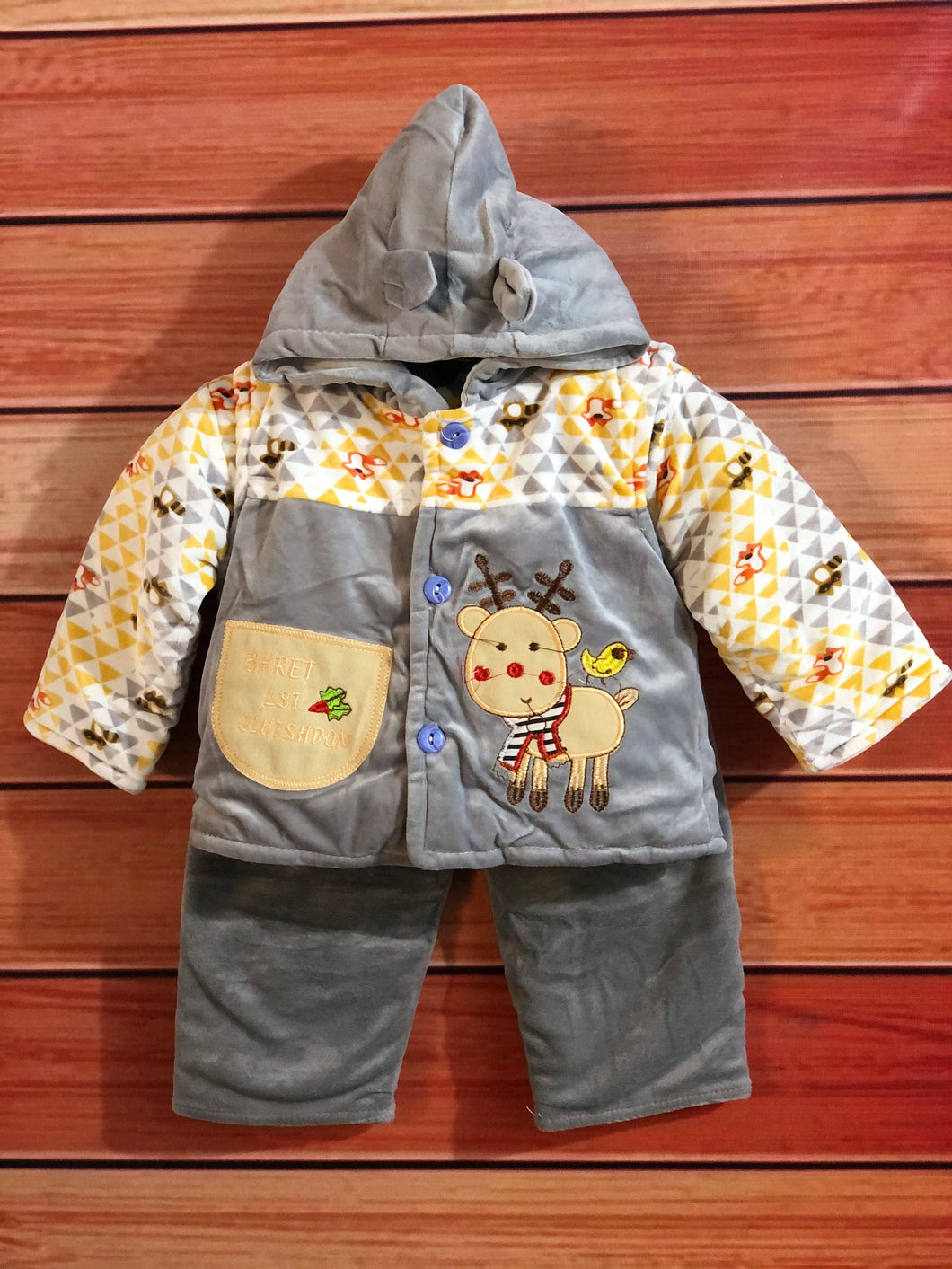 Newborn Baby 3pcs Outfit Hoody Coat Winter Infant Toddler Clothing Bodysuit