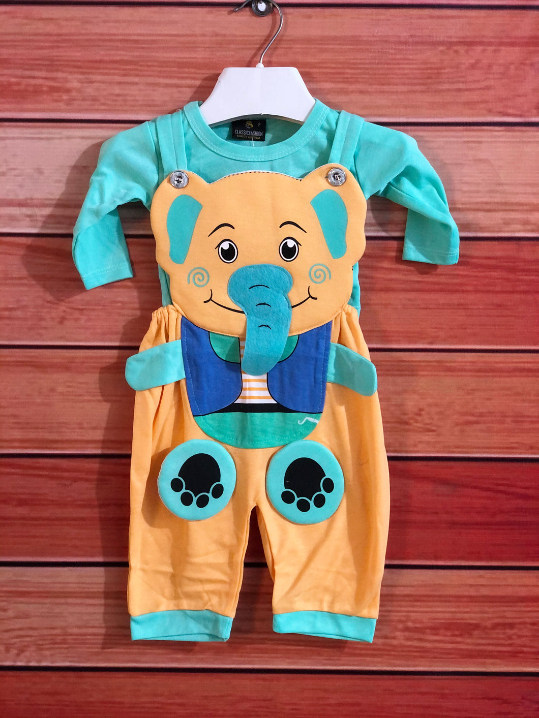 Sea Green Baby Elephant Jump Suit Romper