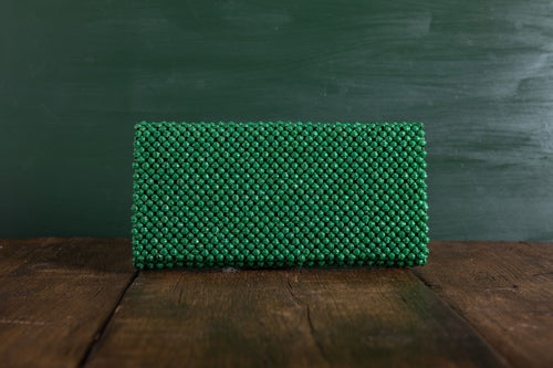 Beaded Clutch Bag Bright Green Augusta Hope