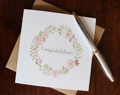Congratulation Peonies Greetings Card
