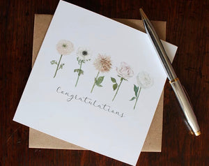 Congratulations Row of Flowers Greetings Card