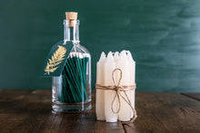 Load image into Gallery viewer, Glass Bottle of Long Matches - Gold Fern