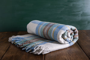 Recycled Wool Muted Blue Tartan Blanket