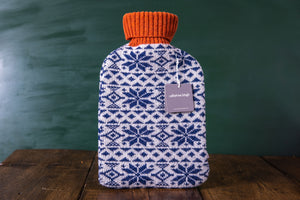 Lambswool Hot Water Bottle Cover - Navy Fair Isle
