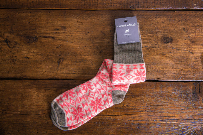 Ladies Lambswool Coral Pink Fair Isle Knee Socks