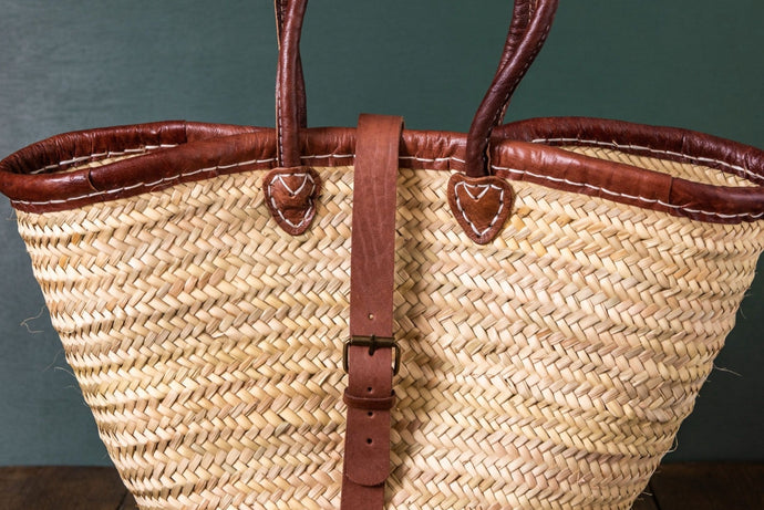 Basket with Leather Trim Buckle Augusta Hope