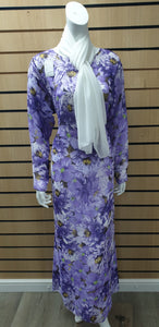 DSS 05 LONG CHIFFON PRINTRD DRESS WITH SCARF.