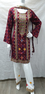 SKD 01 MAROON KAMEEZ EMBROIDERED WITH SALWAR  DUPPATA