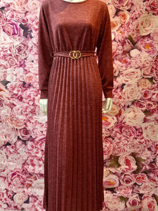 DSS04 LONG WOOLEN WINTER DRESS WITH BELT WITH FRONT