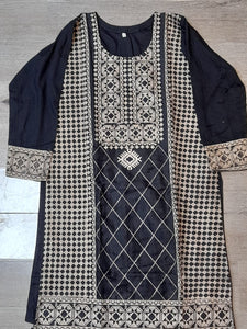 SKD 25 SALWAR KAMEEZ IN BLACK WITH GOLDEN EMBROIDERY