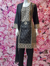 Load image into Gallery viewer, SKD 25 SALWAR KAMEEZ IN BLACK WITH GOLDEN EMBROIDERY