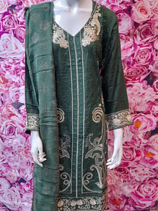 SKD 27 GREEN SALWAR KAMEEZ IN LINEN FABRIC