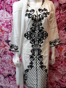 SKD 29 WHITE SALWAR KAMEEZ IN LINEN FABRIC