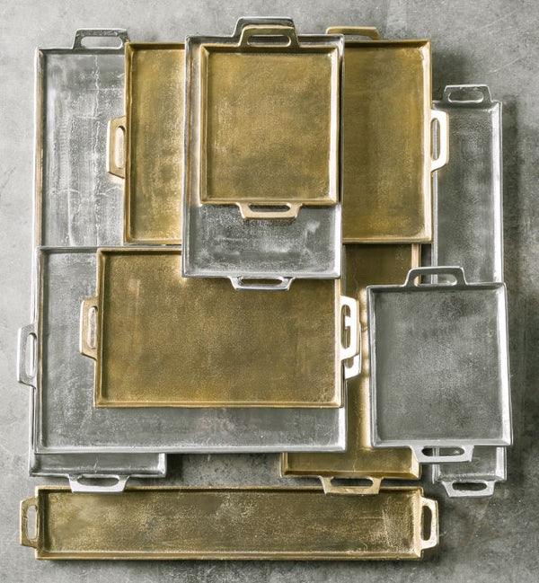 Nickel Serving Tray with Handles
