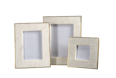 White Marble with Gold Accent Frame