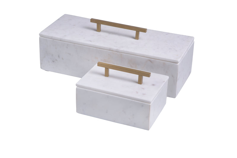 Marble Box With Lid & Gold Handle