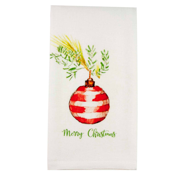 Red Stripe Ornament Merry Christmas Dishtowel