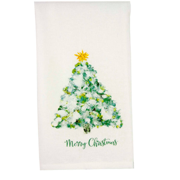 Blue Tree with Lights Dishtowel