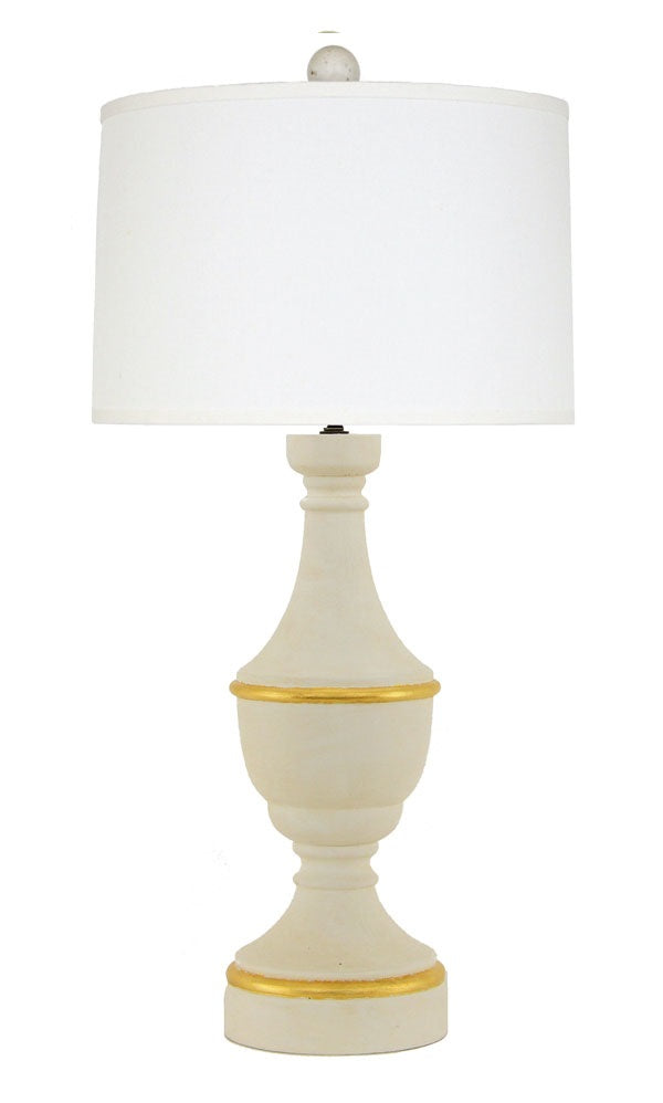 White and Gold Wooden Table Lamp