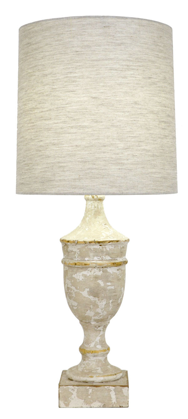 Distressed Wooden Table Lamp