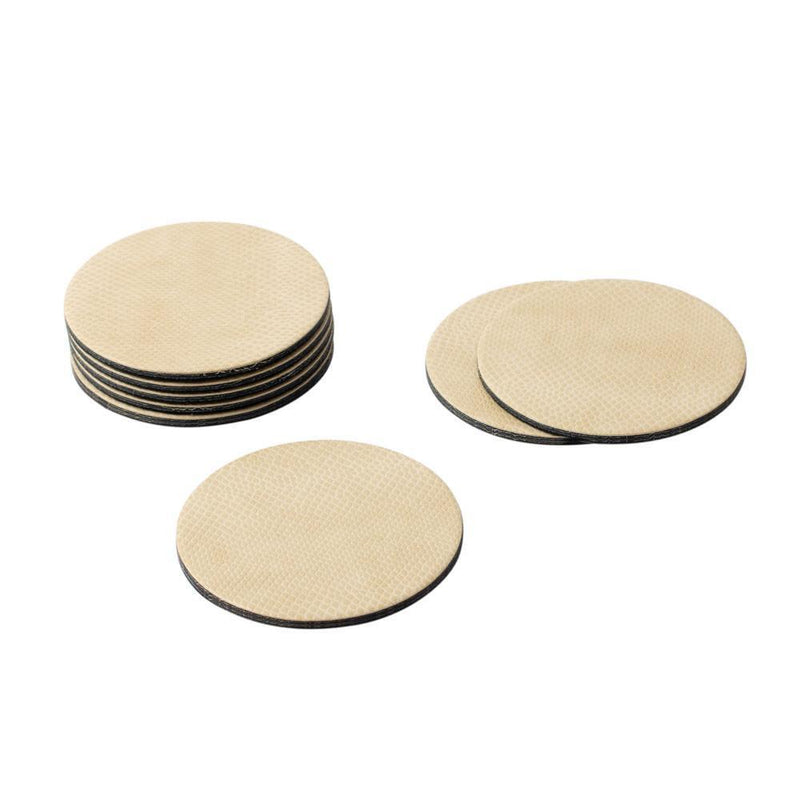 Round Snakeskin Felt-Backed Coasters in Ivory - 8 Per Box