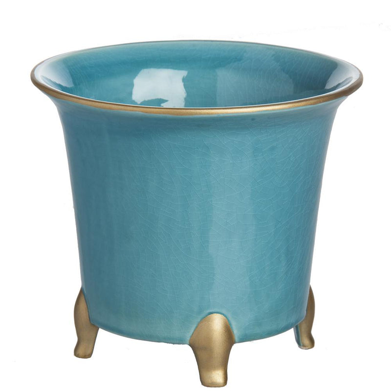 Cachepot, Turquoise with Gold