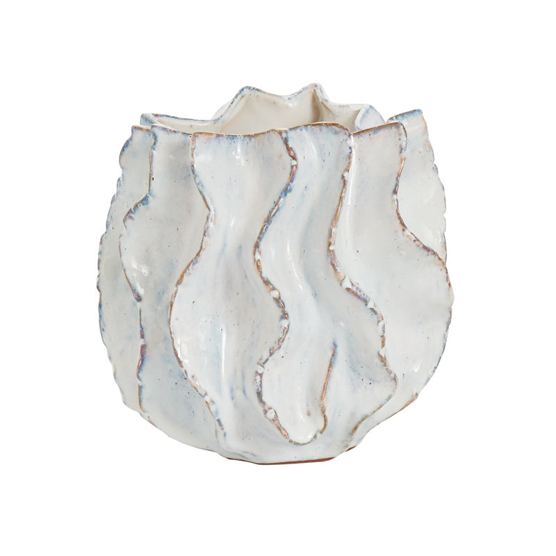 White Wavy Glaze Pot