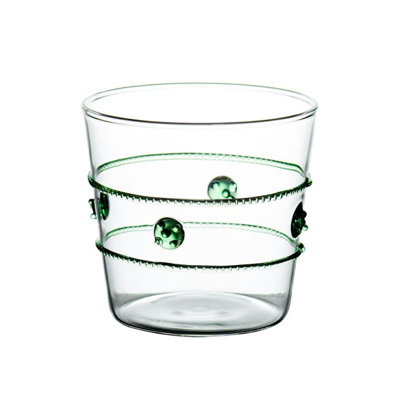 Double Old-Fashioned Glass w/ Applied Green Rope/Medallions (Set of 4)