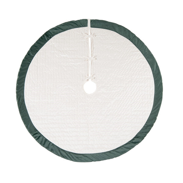 Ivory and Green Velvet Tree Skirt