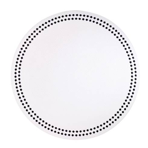 White/Black Pearls Washable Placemats - Set of 4