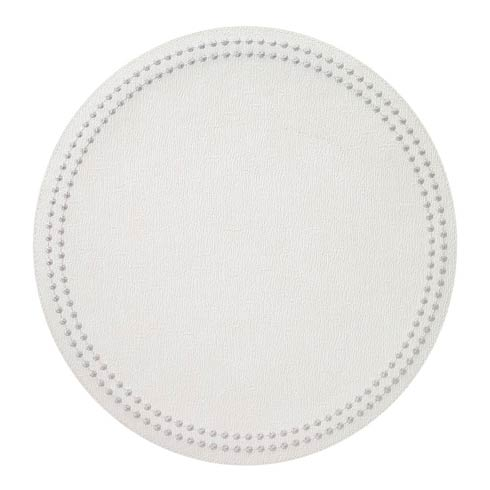 Antique White/Silver Pearls Washable Placemats - Set of 4
