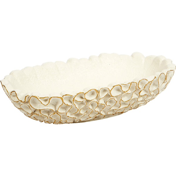 White Whirl Bowl with Gold Leaf Accent