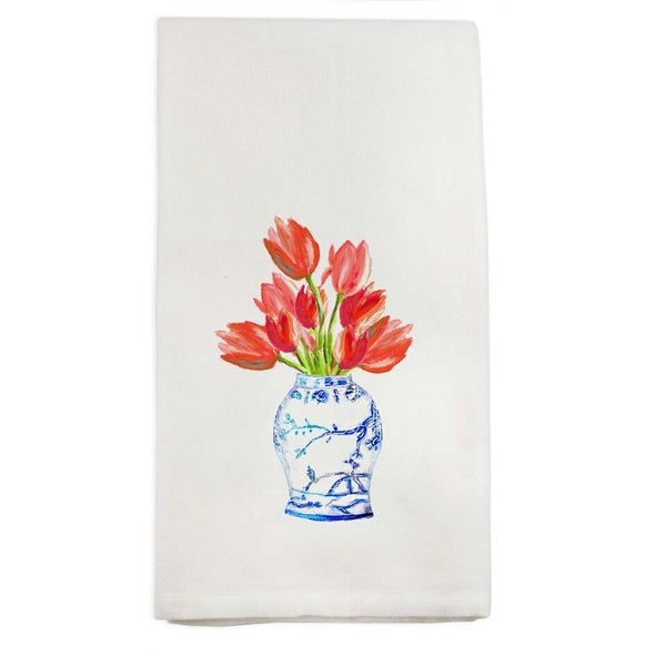Blue and White Jar with Tulips Dishtowel