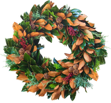 Fresh Berry & Pine Cone Magnolia Wreath