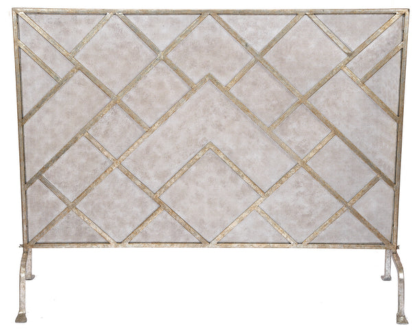 GEOMETRIC FIREPLACE SCREEN With CHAMPAGNE FINISH