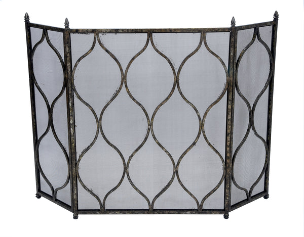 Antique Silver & Black Fireplace Screen