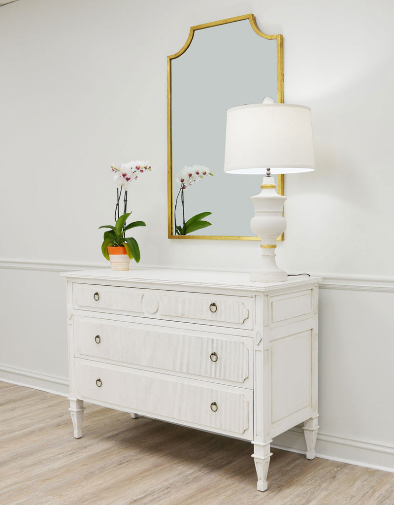 Stripe Inlayed White Wood Dresser