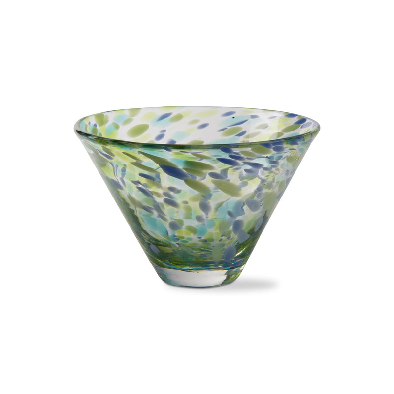 Speckled Stemless Martini Glass (Green and Blue)