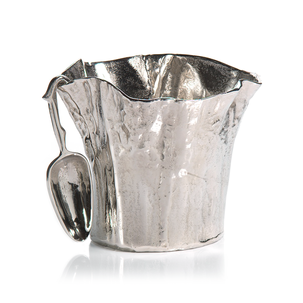Scalloped Aluminum Ice Bucket with Scoop