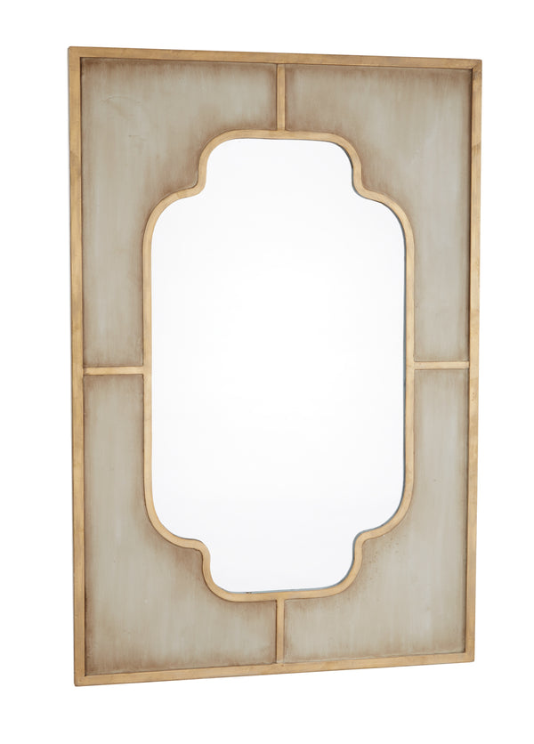 Aged Gray and Gold Mirror
