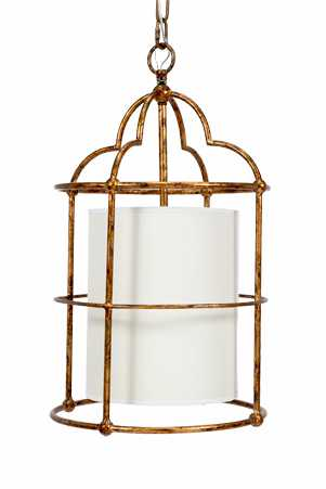 GOLD PENDANT WITH WHITE LINEN SHADE